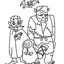 Gruppe von Halloweenmonstern zum Ausmalen