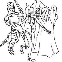 Gruppe gruseliger Halloweenmonster zum Ausmalen