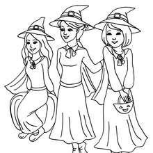 Gruppe junger schöner Hexen zum Ausmalen
