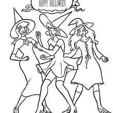 Happy Halloween Gruppe Hexen zum Ausmalen