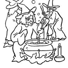 Hexengruppe bereitet einen teuflischen Trank zu zum Ausmalen