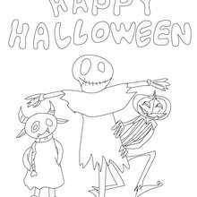 Happy Halloween Vogelscheuche und Kürbis zum Ausmalen