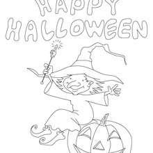 Happy Halloween Hexe und Kürbis zum Ausmalen