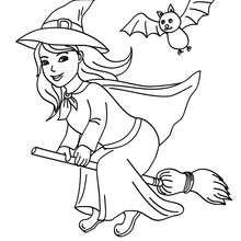 Glückliche Hexe fliegt auf ihrem Besen zum Ausmalen