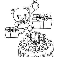 Geburtstagskuchen Teddybär zum Ausmalen