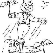 Vogelscheuche mit Halloweenfreunden zum Ausmalen