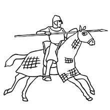 Ritter auf galoppierendem Pferd zum Ausmalen