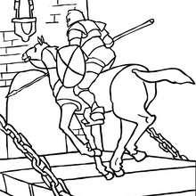 Ritter galoppiert auf einer Zugbrücke zum Ausmalen