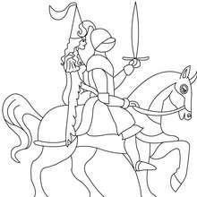 Ritter mit Prinzessin auf einem Pferd zum Ausmalen