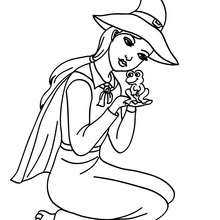 Liebe Hexe hält einen Frosch zum Ausmalen