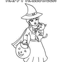 Happy Halloween Hexe und Katze zum Ausmalen