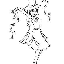 Liebe Hexe spricht einen Fluch zum Ausmalen