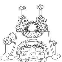 Mexikanischer Tag der Toten Altar zum Ausmalen