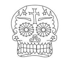 Tag der Toten mexikanischer dekorierter Schädel zum Ausmalen
