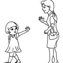 Mutter bringt ihre Tochter zur Schule zum Ausmalen
