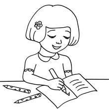 Schüler schreibt ins Heft zum Ausmalen