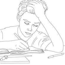 Schüler schreibt zum Ausmalen