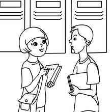 Schüler vor ihren Schließfächern zum Ausmalen