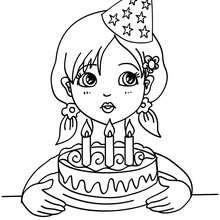 Mädchen bläst ihre Geburtstagskuchenkerzen aus zum Ausmalen