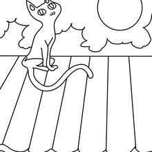 Schwarze Katze im Mondschein zum Ausmalen