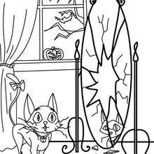 Schwarze Katze und Halloween Spiegel zum Ausmalen