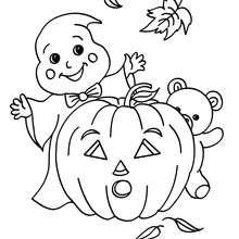 Gespenst mit Halloweenfreunden zum Ausmalen