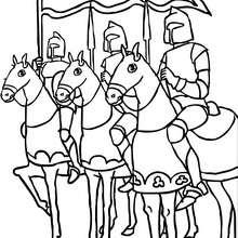 Mehrere Ritter auf Pferden zum Ausmalen