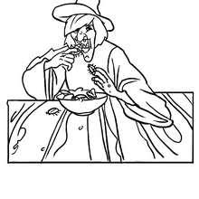 Hässliche Hexe isst Kakerlake zum Ausmalen