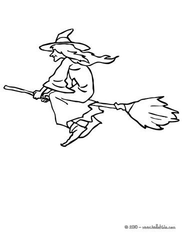 Hexe fliegt auf ihrem besen zum ausmalen zum ausmalen - de.hellokids.com