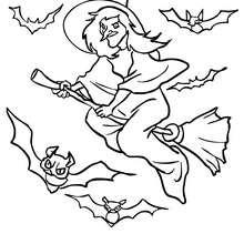 Hexe fliegt mit Fledermäusen zum Ausmalen