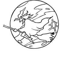 Hexe fliegt im Mondschein zum Ausmalen