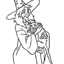 Hexe umarmt eine Katze zum Ausmalen