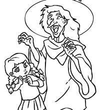 Hexe lacht mit Kindern zum Ausmalen