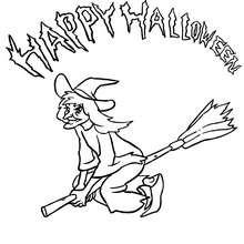 Happy Halloween Hexe auf ihrem Besen zum Ausmalen