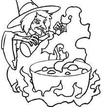 Hexe bereitet einen teuflischen Trank zu zum Ausmalen