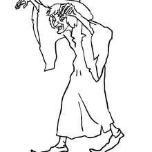 Hexe spricht einen bösen Fluch zum Ausmalen