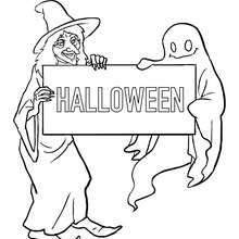 Glückliche Halloweenhexe mit Geist zum Ausmalen