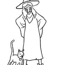 Hexe mit schwarzer Katze zum Ausmalen