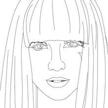 Lady Gaga face view close up coloring page - Coloring page - FAMOUS PEOPLE Coloring pages - LADY GAGA coloring pages