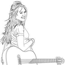 Miley Cyrus with a guitar coloring page - Coloring page - FAMOUS PEOPLE Coloring pages - MILEY CYRUS coloring pages