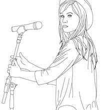 Demi Lovato with hat coloring page - Coloring page - FAMOUS PEOPLE Coloring pages - DEMI LOVATO coloring pages