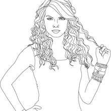 Taylor Swift mit Locken zum Ausmalen