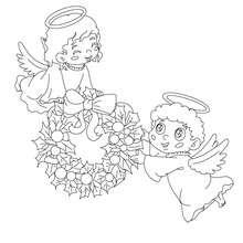 Engel und Weihnachtsgirlande zum Ausmalen