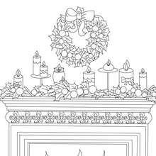Weihnachtskranz, Kerzen und Kamin zum Ausmalen