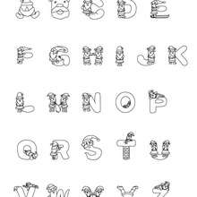 Weihnachtsmannbuchstaben zum Ausmalen