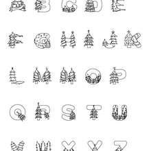 Weihnachtsbaumbuchstaben zum Ausmalen