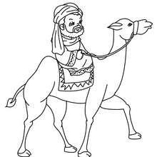 Caspar auf seinem Kamel zum Ausmalen