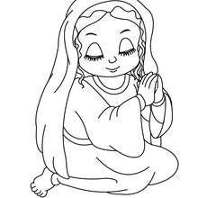 Sitzende Jungfrau Maria zum Ausmalen