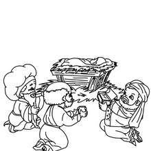 Die heiligen drei Könige mit Jesus zum Ausmalen