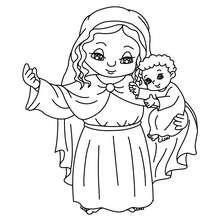 Jungfrau Maria und Jesus zum Ausmalen